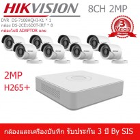 HIKVISION ชุดกล้องวงจรปิด 8 ช่อง 2MP HD1080P TURBO HD กล้อง DS-2CE16D0T-IRF(3.6mm),DVR DS-7108HQHI-K1