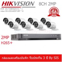 HIKVISION ชุดกล้องวงจรปิด 8 ช่อง 2MP HD1080P TURBO HD กล้อง DS-2CE16D0T-IRF(3.6mm),DVR DS-7208HQHI-K1